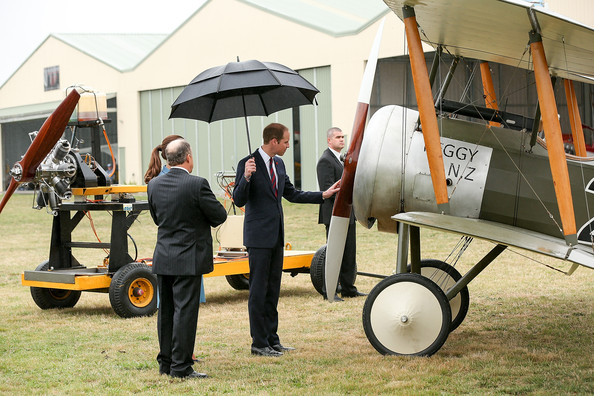 Prince William, Duke of Cambridge and Catherine, Duchess of Cambridge during a visit to Omaka Aviation Heritage Centre with Sir Peter Jackson on April 10, 2014 in Blenheim, New Zealand. The Duke and Duchess of Cambridge are on a three-week tour of Australia and New Zealand, the first official trip overseas with their son, Prince George of Cambridge.