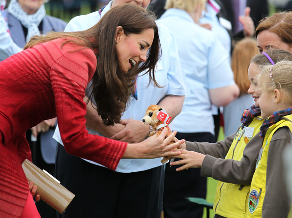 Catherine, Duchess of Cambridge is given a toy during a visit to Strathearn Community Campus on May 29, 2014 in Crieff, Scotland. The Duke and Duchess of Cambridge will spend the day in Scotland where they will tour a distillery and visit a village fete.