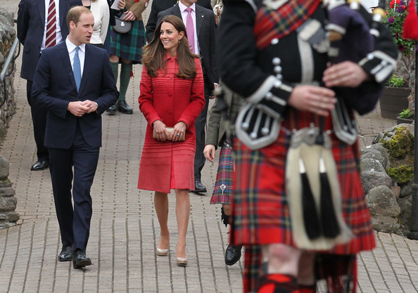 Catherine, Duchess of Cambridge and Prince William, Duke of Cambridge during a tour of The Famous Grouse Distillery on May 29, 2014 in Crieff, Scotland. The Duke and Duchess of Cambridge will spend the day in Scotland where they will tour a distillery and visit a village fete.