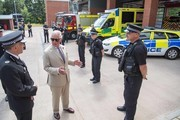 Prince Charles, The Duke of Cornwall visits Middlemoor Fire Station, meeting Emergency Service Personnel from the local Fire Department, Police and Ambulance Services, on July 22, 2020 in Exeter, England. The Duke of Cornwall was received on arrival by the Lord Lieutenant of Devon, Mr David Fursdon.