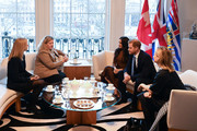 Prince Harry, Duke of Sussex and Meghan, Duchess of Sussex talk with the High Commissioner for Canada in the United Kingdom, Janice Charette (2ndL) and the deputy High Commissioner, Sarah Fountain Smith (L), during their visit to Canada House in thanks for the warm Canadian hospitality and support they received during their recent stay in Canada, on January 7, 2020 in London, England.