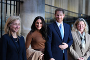 Prince Harry, Duke of Sussex and Meghan, Duchess of Sussex stand with the High Commissioner for Canada in the United Kingdom, Janice Charette (R) and the deputy High Commissioner, Sarah Fountain Smith (L), as they leave after their visit to Canada House in thanks for the warm Canadian hospitality and support they received during their recent stay in Canada, on January 7, 2020 in London, England.