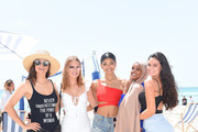 Myla De Blasio, Haley Kalil, Danielle Herrington, Halima Aden and Anne de Paula attend the Duke Spirits And Sports Illustrated Mix Off At The Model Mixology Competition at W South Beach on July 14, 2019 in Miami Beach, Florida.