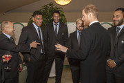 Prince Harry, Duke of Sussex meets currents England rugby union squad Head Coach Eddie Jones,  Nathan Hughes, Courtney Lawes, Jack Nowell and Billy Vunipola during a reception in aid of England Rugby's 'Try for Change' programme and the Jonny Wilkinson Foundation at Kensington Palace on February 13, 2019 in London, England.