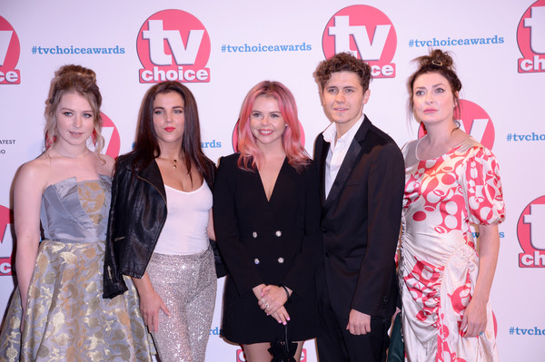 The TV Choice Awards 2019 - Red Carpet Arrivals [premiere,event,fashion,carpet,red carpet,dress,flooring,fashion design,red carpet arrivals,beccy henderson,saoirse-monica jackson,dylan llewellyn,jamie-lee odonnell,kathy kiera clarke,tv choice awards,the tv choice awards,hilton park lane,england]