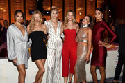 (L-R) Shanina Shaik, Nadine Leopold, Devon Windsor, Caroline Lowe, Olivia Culpo and Daniela Braga attend as E!, ELLE & IMG celebrate the Kick-Off To NYFW: The Shows at The Pool on September 5, 2018 in New York City.