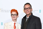 Sandy Powell and Christopher Peterson attend the EE British Academy Film Awards 2020 Nominees' Party at Kensington Palace on February 01, 2020 in London, England.
