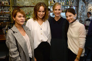 (L-R) Jenne Lombardo, Kelly Framel, Rachelle Hruska and Maria Duenas Jacobs attend ELLE, Clarins, Athena Calderone & Lauren Bush Lauren Host Intimate Lunch In Support Of The FEED Supper Initiative at The Musket Room on October 14, 2014 in New York City.