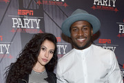 Dancer Lilit Avagyan (L) and NFL player Reggie Bush attend ESPN The Party on February 5, 2016 in San Francisco, California.