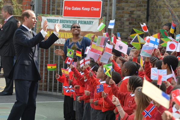 Prince Edward, Earl of Wessex is greeted by pupils during his visit to Robert Browning Primary School in Walworth during an official visit on the Earl's 50th Birthday, to see the work of youth charity Kidscape, recipients of grants from the Wessex Youth Trust, on March 10, 2014 in London, United Kingdom.