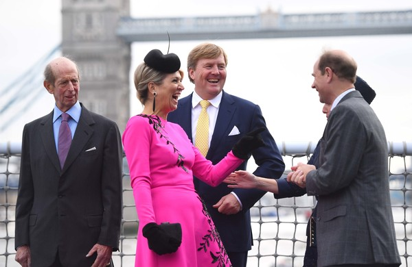 State Visit Of The King And Queen Of The Netherlands - Day Two [pink,event,white-collar worker,suit,gesture,businessperson,handshake,greeting,formal wear,ceremony,maxima,willem-alexander,queen,edward,beatrix,claus,l-r,netherlands,the king and queen of the netherlands,state visit]