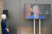 Prince Edward, Earl of Wessex speaks via video link during the formal opening of the Bristol Nightingale Hospital on April 27, 2020 in Bristol, England. The Nightingale Hospital is housed inside a conference centre at the University of West of England's Frenchay campus, and will provide up to 300 intensive care beds.