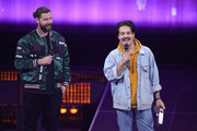 Rea Garvey and 'Best Band - Pop National' award winner Clemens Rehbein of Milky Chance celebrate during the Echo Award show at Messe Berlin on April 12, 2018 in Berlin, Germany.