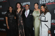 """(L-R) Producer Alia Jones-Harvey, director Liesl Tommy, producer Stephen Byrd, television personality La La Anthony and Marvet Britto attend the """"Eclipsed"""" broadway opening night after party at Gotham Hall on March 6, 2016 in New York City."""