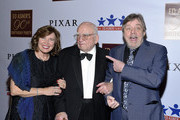 (L - R) Marilou York and actors Ed Asner and Mark Hamill attends Asner's 90th Birthday Party and Celebrity Roast at The Roosevelt Hotel on November 03, 2019 in Hollywood, California.