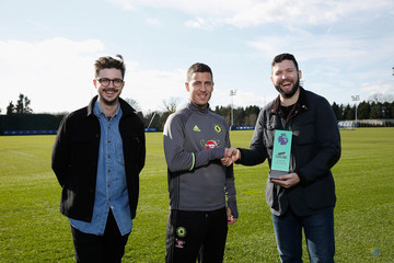 Eden Hazard Eden Hazard Is Presented With the Carling Premier League Goal of the Month Award for February