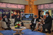 """Actor Michael Pena visits """"Despierta America"""" with hosts (L-R) Johnny Lozada, Alan Tacher, Karla Martinez and Raul Gonzalez to promote """"Gangster Squad"""" on January 09, 2013 in Miami, Florida."""