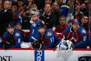 Goalie Semyon Varlamov #1 of the Colorado Avalanche looks on from the bench along with teammates Jan Hejda #8, Brad Stuart #17 and Reto Berra #20 as the Avalanche leave the net empty a relinquish two goals to the Edmonton Oilers in the closing minutes at Pepsi Center on March 30, 2015 in Denver, Colorado. The Oilers defeated the Avalanche 4-1.