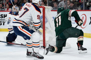 Zach Parise #11 of the Minnesota Wild scores a goal against Cam Talbot #33 and Connor McDavid #97 of the Edmonton Oilers during the second period of the game on April 2, 2018 at Xcel Energy Center in St Paul, Minnesota.