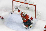 Goaltender Roberto Luongo #1 of the Florida Panthers makes a stick save on a hot by the Edmonton Oilers during third period action at the BB&T Center on March 17, 2018 in Sunrise, Florida. The Oilers defeated the Panthers 4-2.