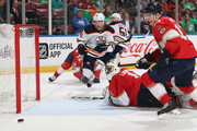 Goaltender Roberto Luongo #1 of the Florida Panthers looks back as the shot by the Edmonton Oilers misses the net during second period action at the BB&T Center on March 17, 2018 in Sunrise, Florida.