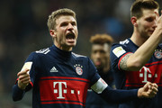 Thomas Mueller of Bayern Muenchen celebrates after the Bundesliga match between Eintracht Frankfurt and FC Bayern Muenchen at Commerzbank-Arena on December 9, 2017 in Frankfurt am Main, Germany.