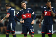 Niklas Suele, Thomas Mueller and Jerome Boateng (L-R) of Muenchen react during the Bundesliga match between Eintracht Frankfurt and FC Bayern Muenchen at Commerzbank-Arena on December 9, 2017 in Frankfurt am Main, Germany.  (Photo by Alex Grimm/Bongarts/Getty Images) *** Local Caption *** Thomas Mueller; Jerome Boateng