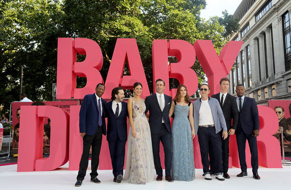 European Premiere of Sony Pictures 'Baby Driver' [baby driver,red,pink,suit,fashion,formal wear,event,ceremony,tuxedo,architecture,dress,lily james,cj james,jon hamm,eiza gonzalez,edgar wright,kevin spacey,jamie foxx,sony pictures,european premiere]