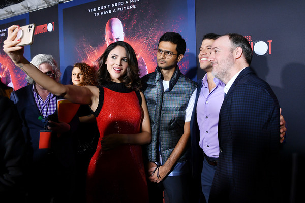 """Premiere Of Sony Pictures' """"Bloodshot"""" - Red Carpet [bloodshot,red,event,yellow,premiere,fun,photography,performance,dress,party,flooring,red carpet,dave wilson,eiza gonzalez,l-r,red,fashion,sony pictures,premiere,premiere,public relations,fashion,nightclub,socialite,public]"""