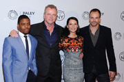 "(L-R) Jon Michael Hill, Aidan Quinn, Lucy Liu and Jonny Lee Miller attend the ""Elementary"" panel during 2013 PaleyFest: Made In New York at The Paley Center for Media on October 5, 2013 in New York City."