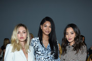 Delilah Belle Hamlin, Chanel Iman and Jamie Chung attend the Ellie Tahari front row during New York Fashion Week: The Showsat Gallery II at Spring Studios on September 05, 2019 in New York City.