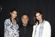 (L-R) Chanel Iman, Elie Tahari and Katie Holmes attend Elie Tahari Spring / Summer 2020 Runway Show at Gallery II at Spring Studios on September 05, 2019 in New York City.