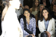 Chanel Iman (L) and Katie Holmes attend Elie Tahari Spring / Summer 2020 Runway Show at Gallery II at Spring Studios on September 05, 2019 in New York City.