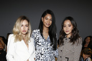 (L-R) Delilah Belle Hamlin,  Chanel Iman and Jamie Chung attend the Ellie Tahari front row during New York Fashion Week: The Showsat Gallery II at Spring Studios on September 05, 2019 in New York City.