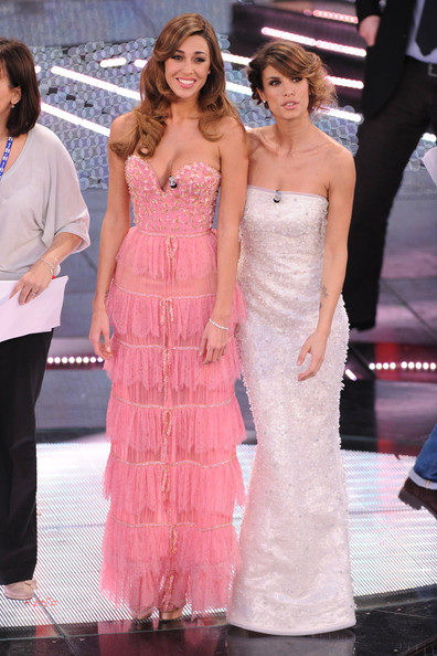 Elisabetta Canalis Belen Rodriguez and Elisabetta Canalis  attend the closing night of the 61st Italian Song Festival at the Ariston Theatre on February 19, 2011 in San Remo, Italy.