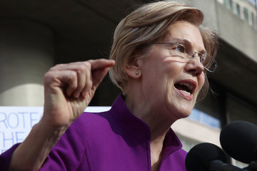 Elizabeth Warren Sen. Elizabeth Warren (D-MA) Attends Protest Outside the Consumer Financial Protection Bureau Headquarters