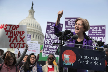 Elizabeth Warren Congressional Democrats Hold Rally at U.S. Capitol Against GOP Tax Plan