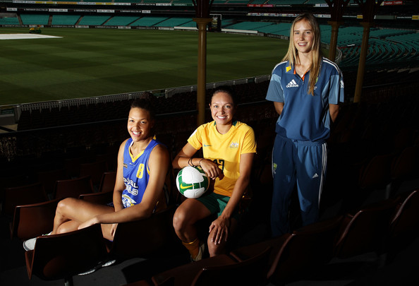 Ellyse Perry (L-R) Basketballer Liz Cambage, soccer player Kyah Simon and