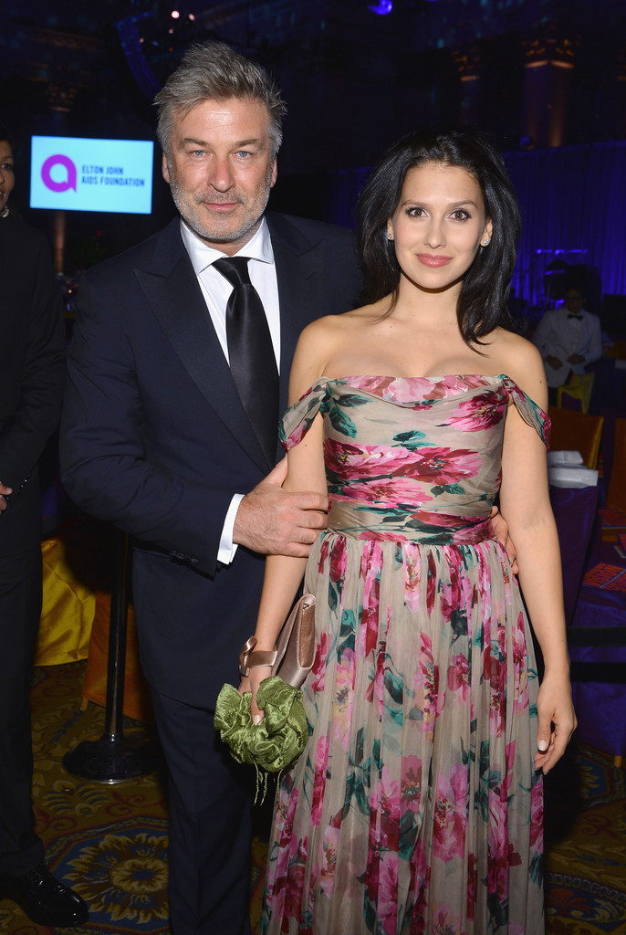 Alec Baldwin and Hilaria Baldwin attend the Elton John AIDS Foundation's 12th Annual An Enduring Vision Benefit at Cipriani Wall Street on October 15, 2013 in New York City.