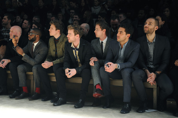 Burberry Prorsum: Front Row - Milan Fashion Week Menswear Autumn/Winter 2013 [social group,event,audience,suit,businessperson,team,formal wear,management,crowd,harry treadaway,luke treadaway,tinie tempah,elyas mbarek,greg james,front row,menswear autumn,l-r,burberry prorsum,milan fashion week]