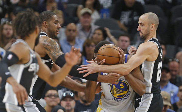 Golden State Warriors vs. San Antonio Spurs - Game Four [sports,basketball,basketball player,team sport,ball game,player,basketball moves,tournament,basketball court,game,manu ginobili 20,user,lamarcus aldridge,kevon looney 5,four,half,san antonio spurs,golden state warriors,round]