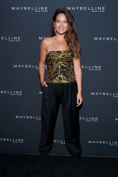 Maybelline New York Fashion Week Party September 2019 [clothing,fashion,hairstyle,dress,shoulder,strapless dress,footwear,waist,fashion model,premiere,emily didonato,new york city,maybelline new york fashion week,party,party]
