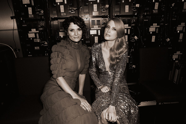 7th AACTA Awards Presented by Foxtel | Backstage [image,black,photograph,black-and-white,monochrome,snapshot,monochrome photography,fashion,standing,fun,photography,danielle cormack,emma booth,backstage,filters,australia,sydney,foxtel,the star,aacta awards]