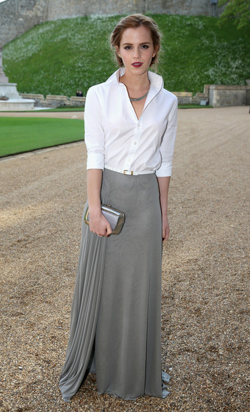 Emma Watson Actress Emma Watson arrives for a dinner to celebrate the work of The Royal Marsden hosted by the Duke of Cambridge at Windsor Castle on May 13, 2014 in Windsor, England.