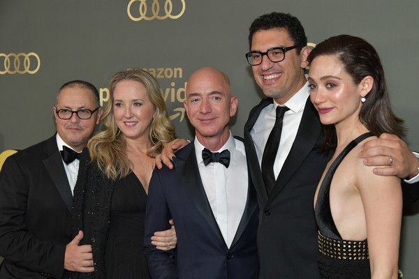Amazon Prime Video's Golden Globe Awards After Party - Arrivals [amazon prime video,event,eyewear,suit,fashion,formal wear,premiere,fun,tuxedo,vision care,black-and-white,jeff bezos,jennifer salke,sam esmail,emmy rossum,golden globe awards,l-r,amazon studios,arrivals,party]