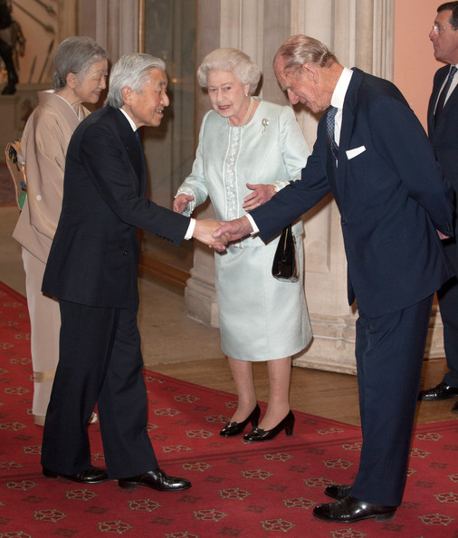 Empress Michiko Queen Elizabeth II and Prince Philip, Duke of Edinburgh greet Emperor Akihito of Japan and Empress Michiko as they arrive at a lunch for Sovereign Monarch's held in honour of Queen Elizabeth II's Diamond Jubilee, at Windsor Castle, on May 18, 2012 in Windsor, England.