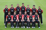 The England cricket team pose for a team photograph at Old Trafford on August 30, 2011 in Manchester, England.