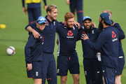 England players from left to right Ollie Pope; Stuart Broad; Jonny Bairstow; Adil Rashid; Ben Stokes (obscured) and Moeen Ali bond during the football match during England nets ahead of the 4th Test Match against India at The Ageas Bowl on August 29, 2018 in Southampton, England.
