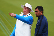 Duncan Fletcher, coach of India talks to MS Dhoni during a India nets session ahead of the first Investec Test Series at Trent Bridge on July 8, 2014 in Nottingham, England.