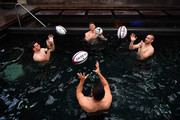 George Ford, Owen Farrell, Ben Youngs and Mike Brown of England complete a passing drill during a recovery session at the Hilton Vilamoura on November 2, 2017 in Vilamoura, Portugal.